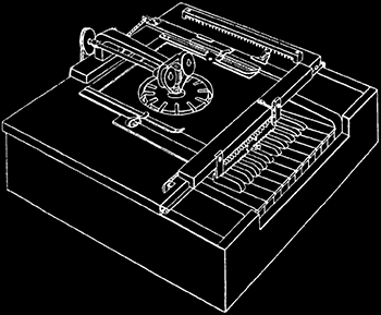 early typewriter diagram