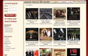 "Snapshot of the ""Bluegrass"" section"