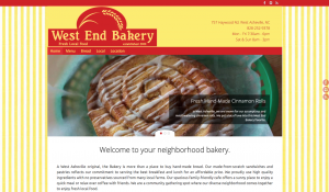 West End Bakery website screenshot
